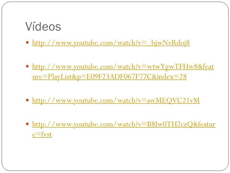 Vídeos  http://www.youtube.com/watch?v=_bjwNvRdoj8 http://www.youtube.com/watch?v=_bjwNvRdoj8  http://www.youtube.com/watch?v=wtwYgwTFHw8&feat ure=P