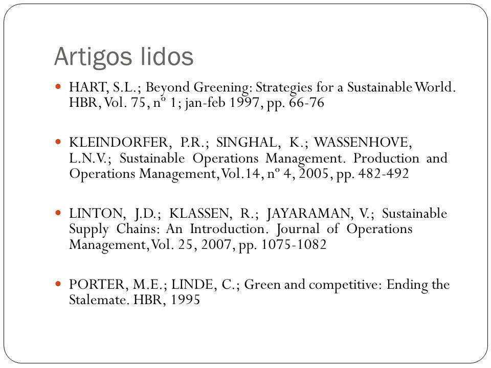 Artigos lidos  HART, S.L.; Beyond Greening: Strategies for a Sustainable World. HBR, Vol. 75, nº 1; jan-feb 1997, pp. 66-76  KLEINDORFER, P.R.; SING
