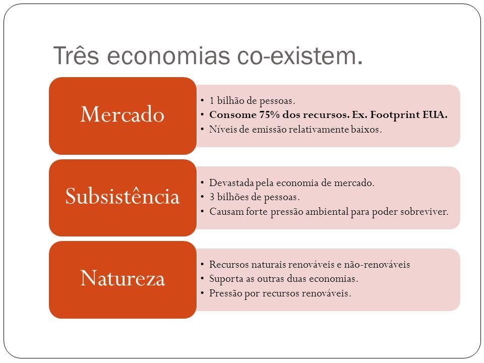Três economias co-existem. •1 bilhão de pessoas. •Consome 75% dos recursos. Ex. Footprint EUA. •Níveis de emissão relativamente baixos. Mercado •Devas