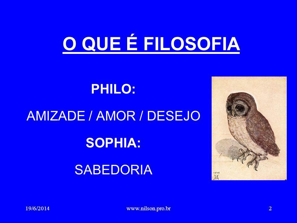O QUE É FILOSOFIA PHILO: AMIZADE / AMOR / DESEJO SOPHIA: SABEDORIA 19/6/20142www.nilson.pro.br