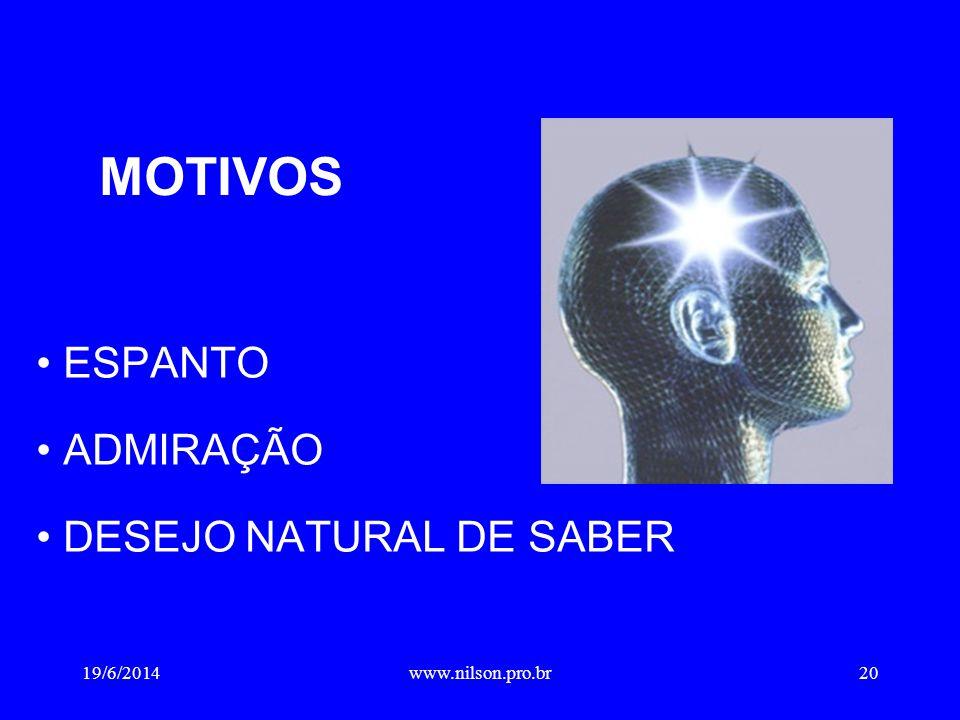 • ESPANTO • ADMIRAÇÃO • DESEJO NATURAL DE SABER MOTIVOS 19/6/201420www.nilson.pro.br
