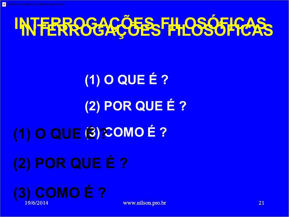 (1) O QUE É ? (2) POR QUE É ? (3) COMO É ? INTERROGAÇÕES FILOSÓFICAS (1) O QUE É ? (2) POR QUE É ? (3) COMO É ? 19/6/201421www.nilson.pro.br