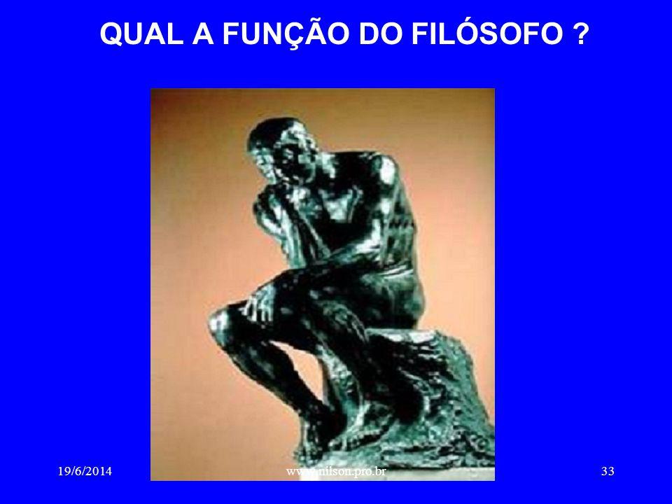 QUAL A FUNÇÃO DO FILÓSOFO ? 19/6/201433www.nilson.pro.br
