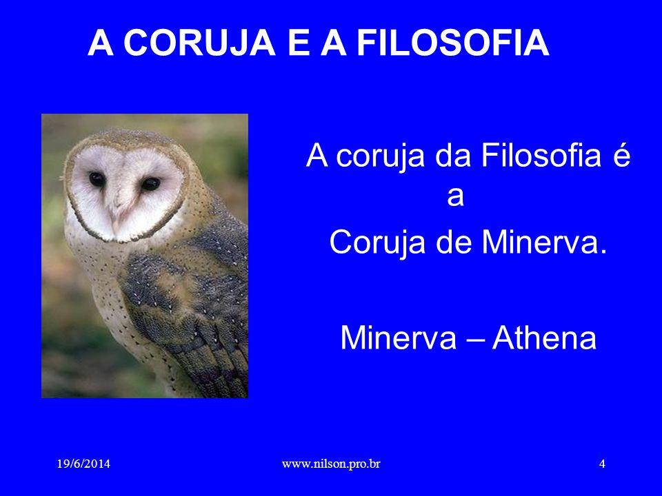 A CORUJA E A FILOSOFIA A coruja da Filosofia é a Coruja de Minerva. Minerva – Athena 19/6/20144www.nilson.pro.br