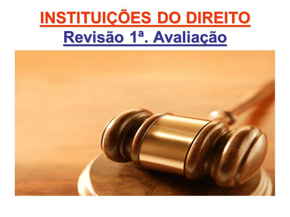 INSTITUIÇÕES DO DIREITO Revisão 1ª. Avaliação