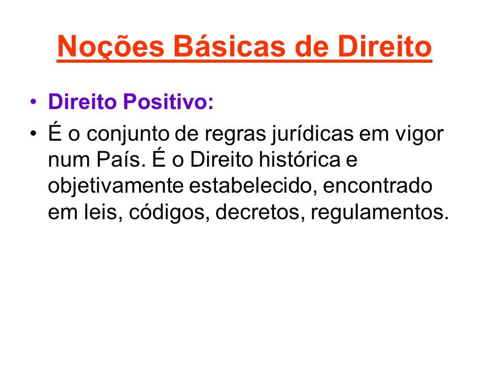 Noções Básicas de Direito •Direito Positivo: •É o conjunto de regras jurídicas em vigor num País. É o Direito histórica e objetivamente estabelecido,
