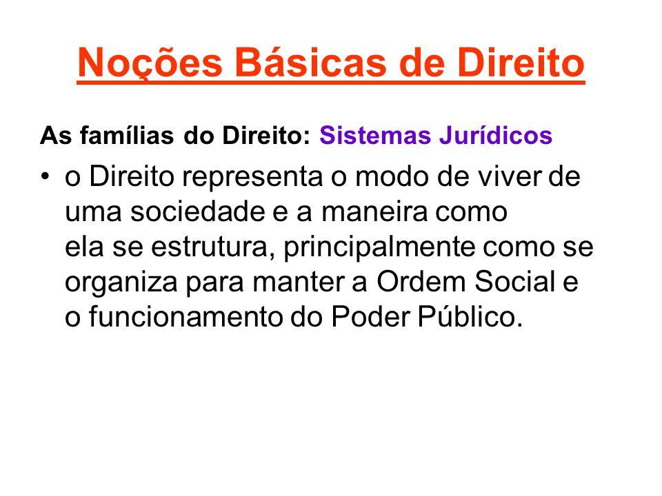 Noções Básicas de Direito As famílias do Direito: Sistemas Jurídicos •o Direito representa o modo de viver de uma sociedade e a maneira como ela se estrutura, principalmente como se organiza para manter a Ordem Social e o funcionamento do Poder Público.