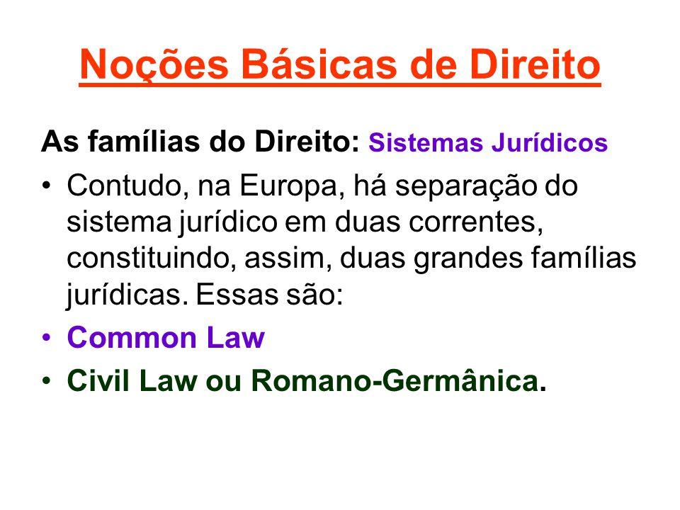 Noções Básicas de Direito As famílias do Direito: Sistemas Jurídicos •Contudo, na Europa, há separação do sistema jurídico em duas correntes, constituindo, assim, duas grandes famílias jurídicas.