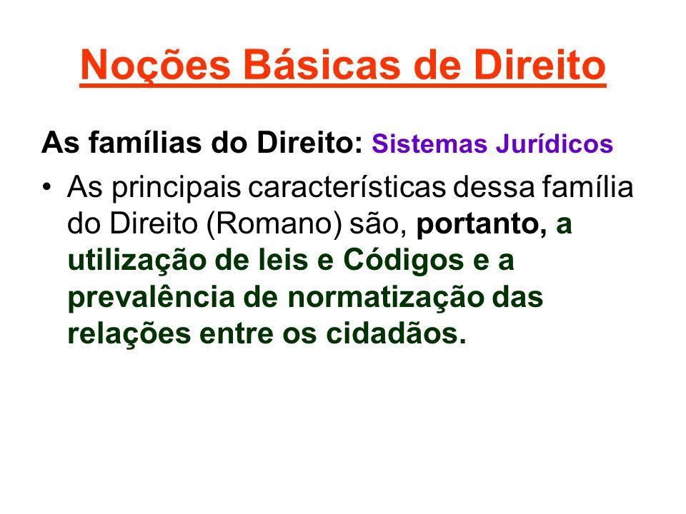 Noções Básicas de Direito As famílias do Direito: Sistemas Jurídicos •As principais características dessa família do Direito (Romano) são, portanto, a utilização de leis e Códigos e a prevalência de normatização das relações entre os cidadãos.