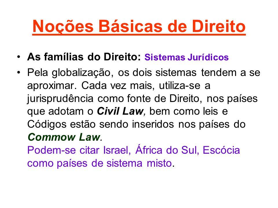 Noções Básicas de Direito •As famílias do Direito: Sistemas Jurídicos •Pela globalização, os dois sistemas tendem a se aproximar. Cada vez mais, utili