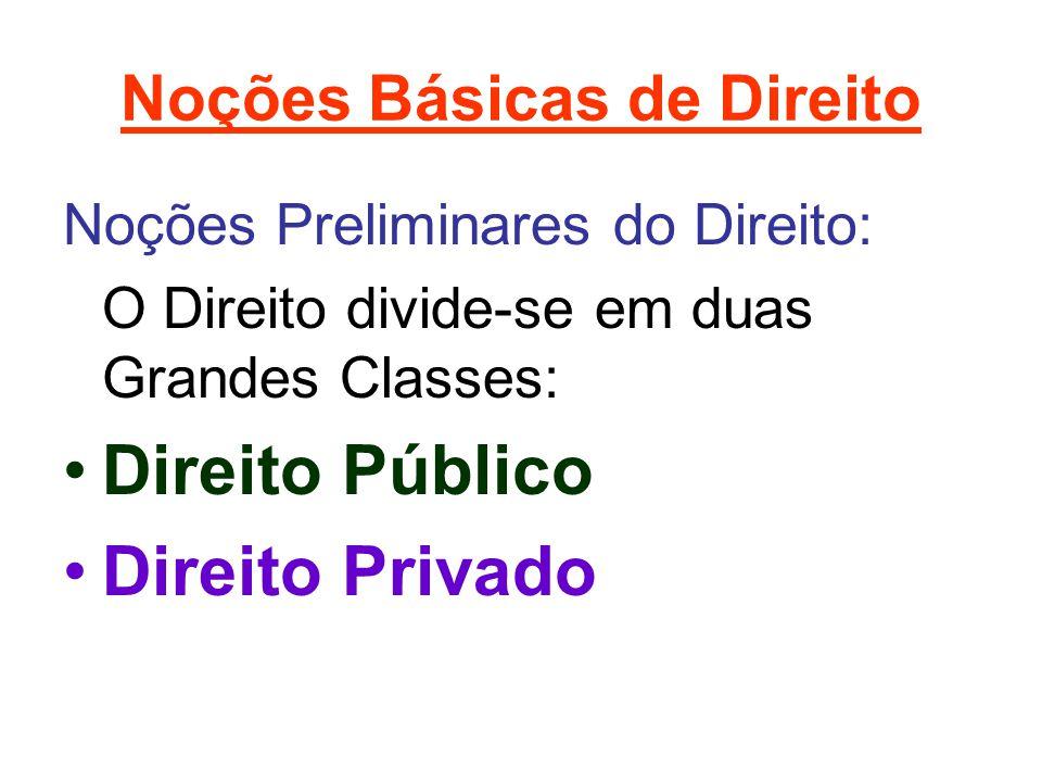 Noções Básicas de Direito Noções Preliminares do Direito: O Direito divide-se em duas Grandes Classes: •Direito Público •Direito Privado