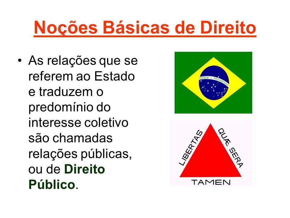Noções Básicas de Direito •As relações que se referem ao Estado e traduzem o predomínio do interesse coletivo são chamadas relações públicas, ou de Direito Público.