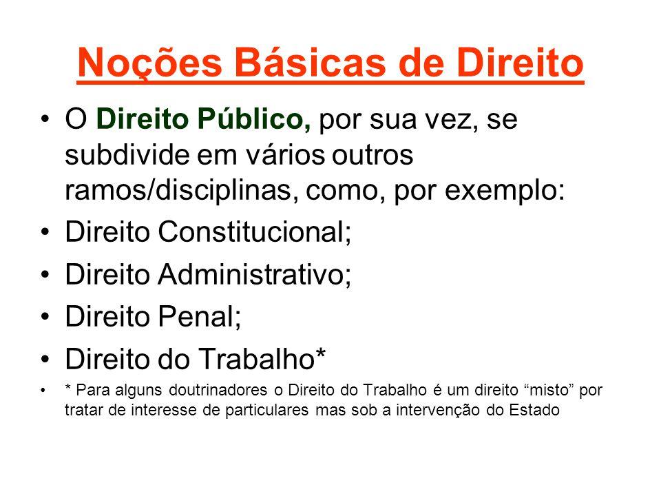 Noções Básicas de Direito •O Direito Público, por sua vez, se subdivide em vários outros ramos/disciplinas, como, por exemplo: •Direito Constitucional