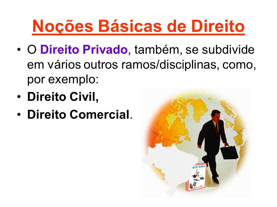 Noções Básicas de Direito •O Direito Privado, também, se subdivide em vários outros ramos/disciplinas, como, por exemplo: •Direito Civil, •Direito Com