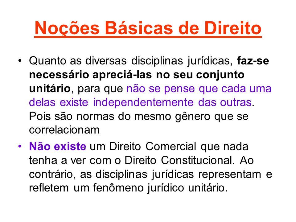 Noções Básicas de Direito •Quanto as diversas disciplinas jurídicas, faz-se necessário apreciá-Ias no seu conjunto unitário, para que não se pense que cada uma delas existe independentemente das outras.