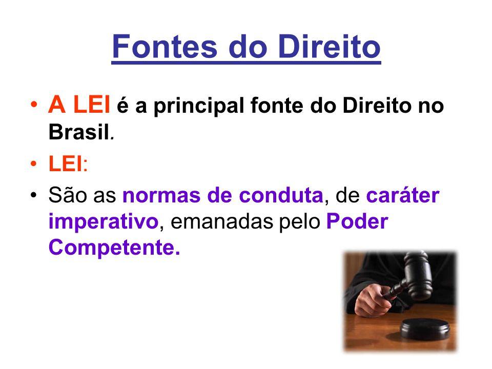 Fontes do Direito •A LEI é a principal fonte do Direito no Brasil. •LEI: •São as normas de conduta, de caráter imperativo, emanadas pelo Poder Compete
