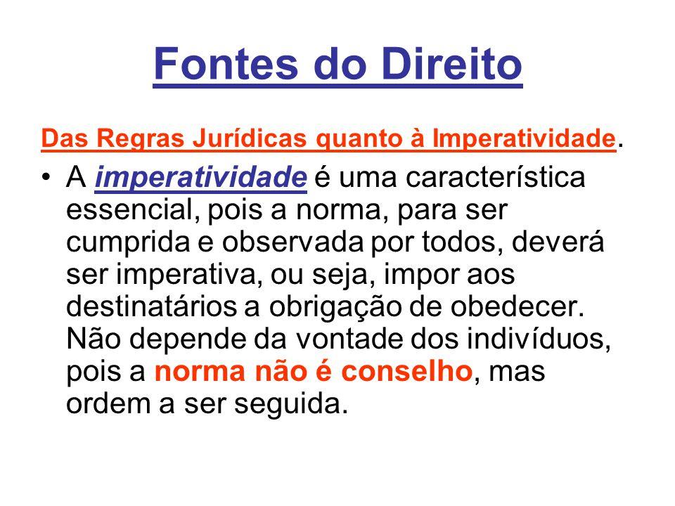 Fontes do Direito Das Regras Jurídicas quanto à Imperatividade.