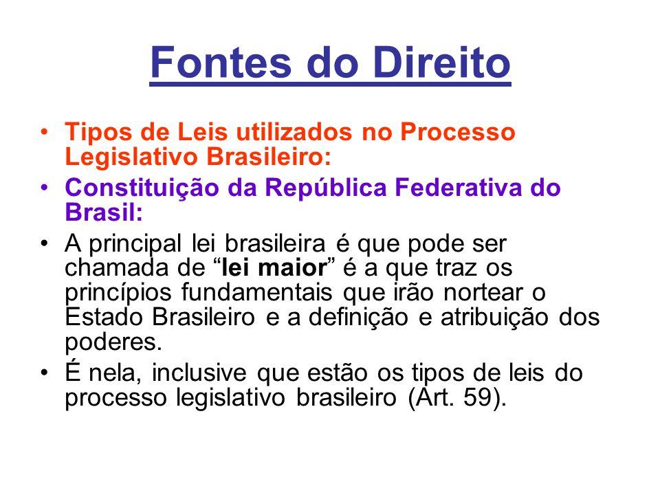Fontes do Direito •Tipos de Leis utilizados no Processo Legislativo Brasileiro: •Constituição da República Federativa do Brasil: •A principal lei bras