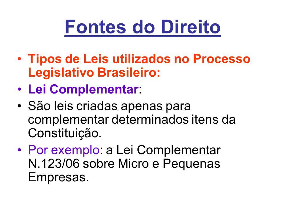 Fontes do Direito •Tipos de Leis utilizados no Processo Legislativo Brasileiro: •Lei Complementar: •São leis criadas apenas para complementar determinados itens da Constituição.