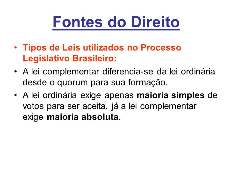 Fontes do Direito •Tipos de Leis utilizados no Processo Legislativo Brasileiro: •A lei complementar diferencia-se da lei ordinária desde o quorum para sua formação.