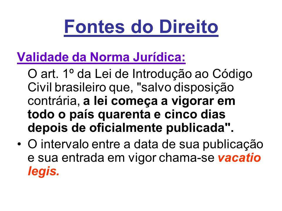 Fontes do Direito Validade da Norma Jurídica: O art. 1º da Lei de Introdução ao Código Civil brasileiro que,