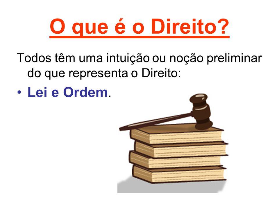 O que é o Direito? Todos têm uma intuição ou noção preliminar do que representa o Direito: •Lei e Ordem.