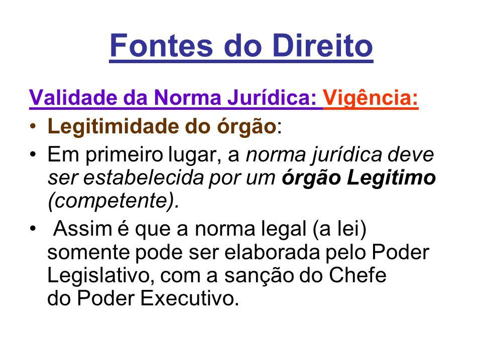 Fontes do Direito Validade da Norma Jurídica: Vigência: •Legitimidade do órgão: •Em primeiro lugar, a norma jurídica deve ser estabelecida por um órgão Legitimo (competente).