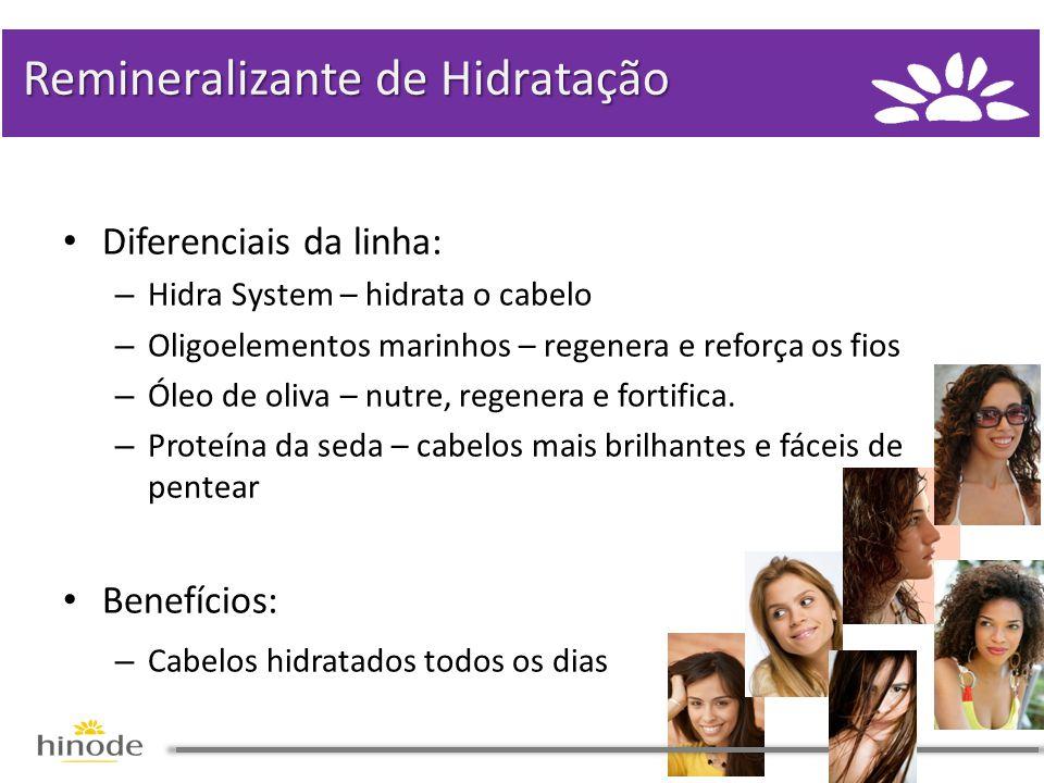• Diferenciais da linha: – Hidra System – hidrata o cabelo – Oligoelementos marinhos – regenera e reforça os fios – Óleo de oliva – nutre, regenera e fortifica.