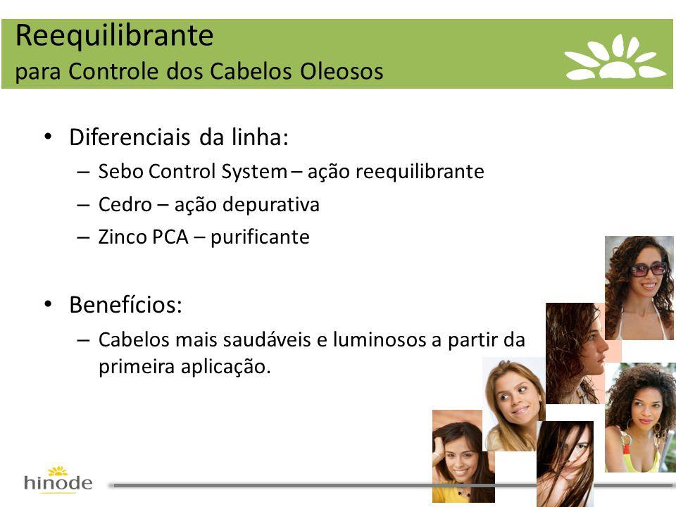 • Diferenciais da linha: – Sebo Control System – ação reequilibrante – Cedro – ação depurativa – Zinco PCA – purificante • Benefícios: – Cabelos mais