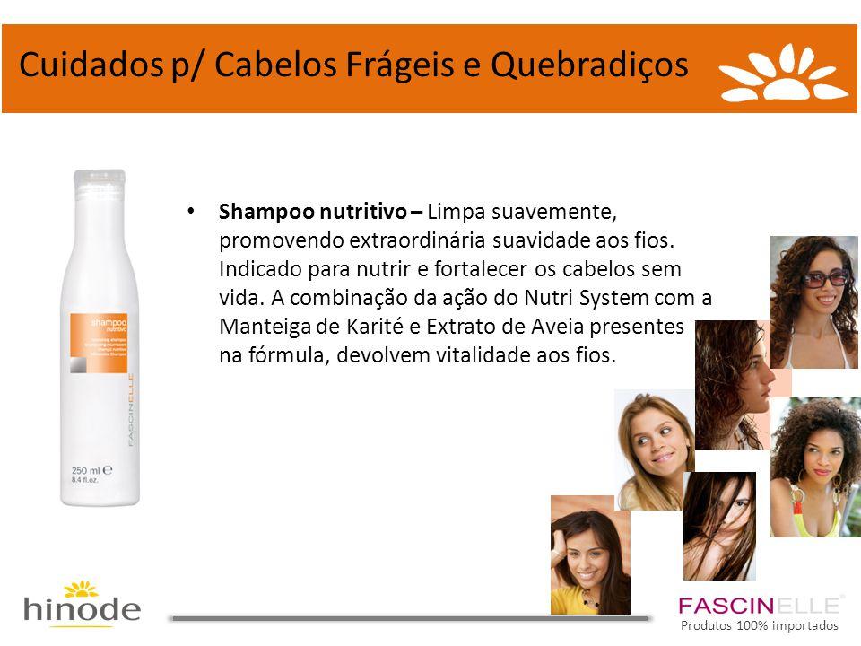 • Shampoo nutritivo – Limpa suavemente, promovendo extraordinária suavidade aos fios. Indicado para nutrir e fortalecer os cabelos sem vida. A combina