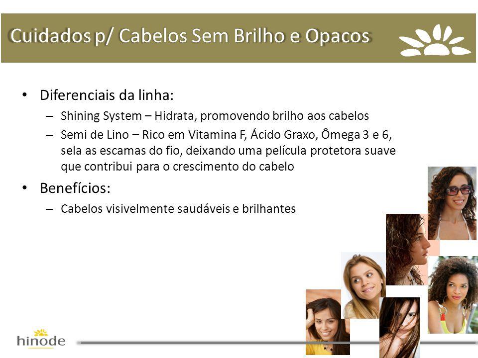 • Diferenciais da linha: – Shining System – Hidrata, promovendo brilho aos cabelos – Semi de Lino – Rico em Vitamina F, Ácido Graxo, Ômega 3 e 6, sela