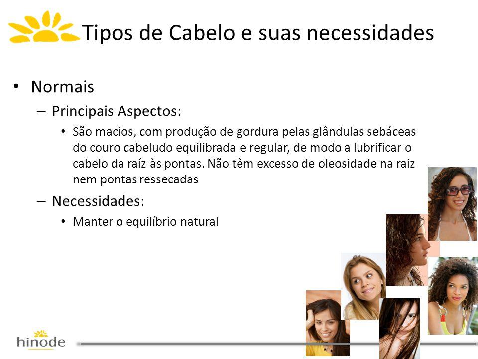 Tipos de Cabelo e suas necessidades • Normais – Principais Aspectos: • São macios, com produção de gordura pelas glândulas sebáceas do couro cabeludo