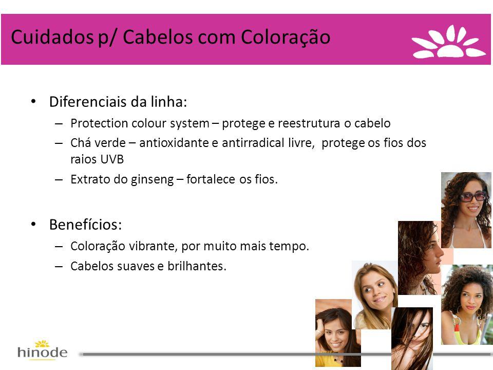 • Diferenciais da linha: – Protection colour system – protege e reestrutura o cabelo – Chá verde – antioxidante e antirradical livre, protege os fios dos raios UVB – Extrato do ginseng – fortalece os fios.