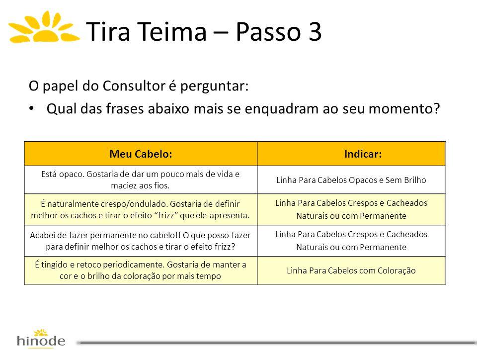 O papel do Consultor é perguntar: • Qual das frases abaixo mais se enquadram ao seu momento? Tira Teima – Passo 3 Meu Cabelo: Indicar: Está opaco. Gos