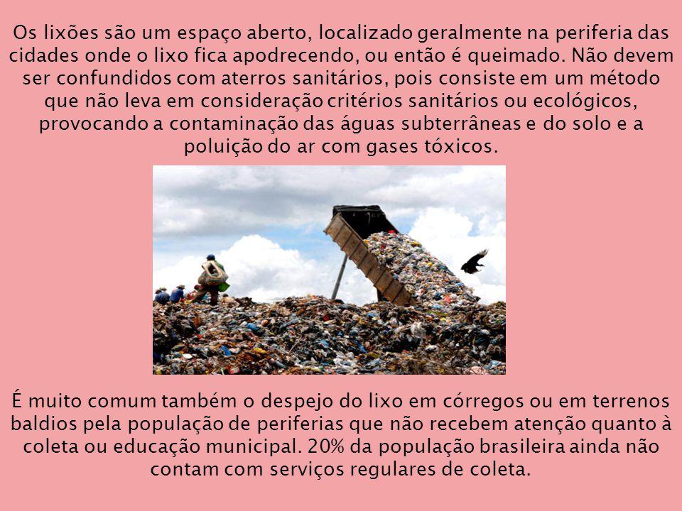 Os lixões são um espaço aberto, localizado geralmente na periferia das cidades onde o lixo fica apodrecendo, ou então é queimado.