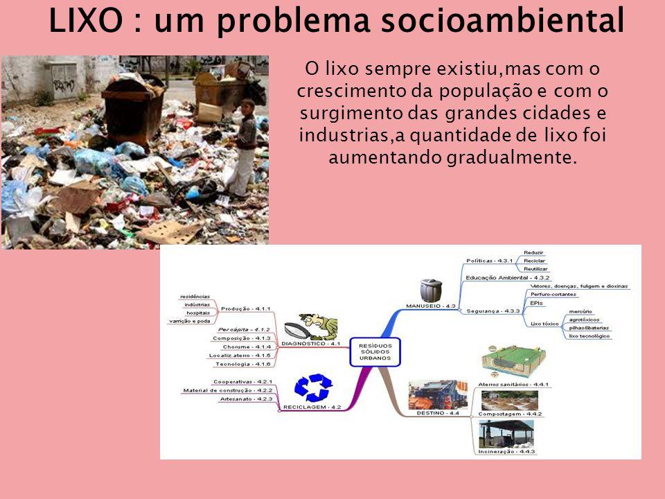 LIXO : um problema socioambiental O lixo sempre existiu,mas com o crescimento da população e com o surgimento das grandes cidades e industrias,a quantidade de lixo foi aumentando gradualmente.
