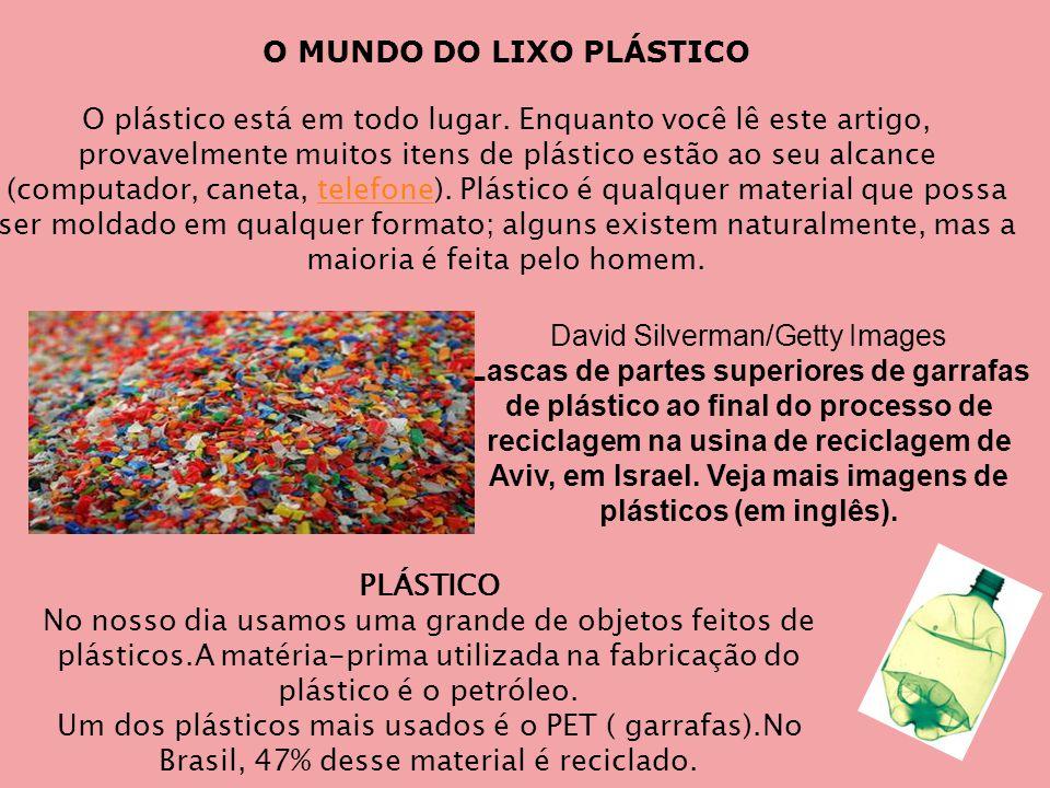 PLÁSTICO No nosso dia usamos uma grande de objetos feitos de plásticos.A matéria-prima utilizada na fabricação do plástico é o petróleo.