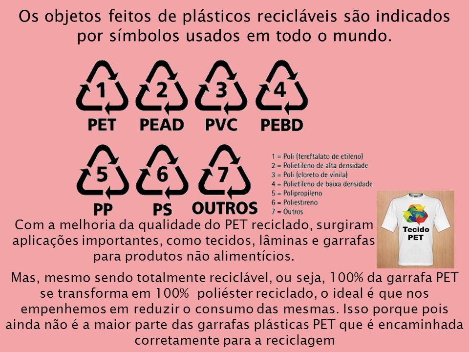 Mas, mesmo sendo totalmente reciclável, ou seja, 100% da garrafa PET se transforma em 100% poliéster reciclado, o ideal é que nos empenhemos em reduzir o consumo das mesmas.