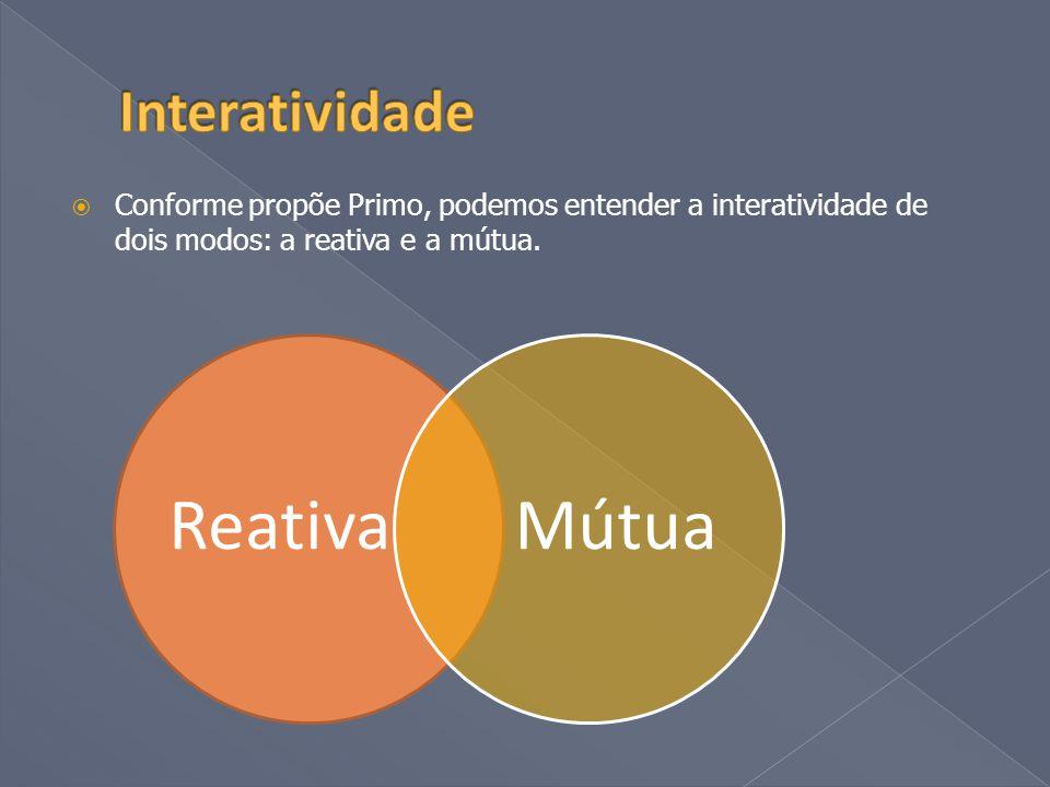  Conforme propõe Primo, podemos entender a interatividade de dois modos: a reativa e a mútua.