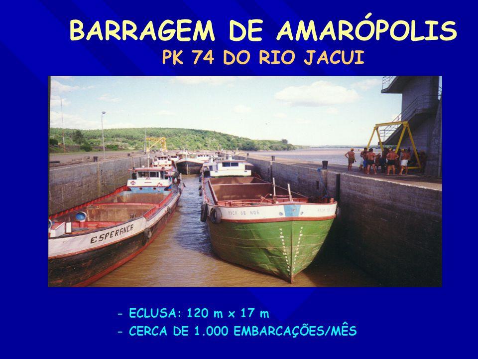 BARRAGEM DE AMARÓPOLIS PK 74 DO RIO JACUI - ECLUSA: 120 m x 17 m - CERCA DE 1.000 EMBARCAÇÕES/MÊS