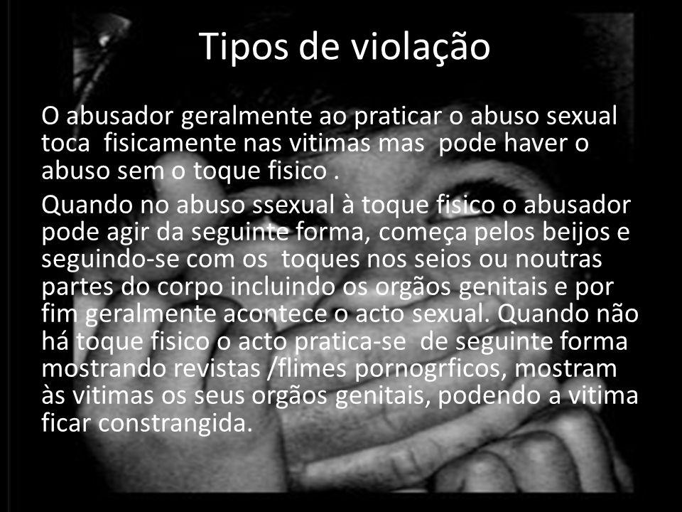 O abusador geralmente ao praticar o abuso sexual toca fisicamente nas vitimas mas pode haver o abuso sem o toque fisico.