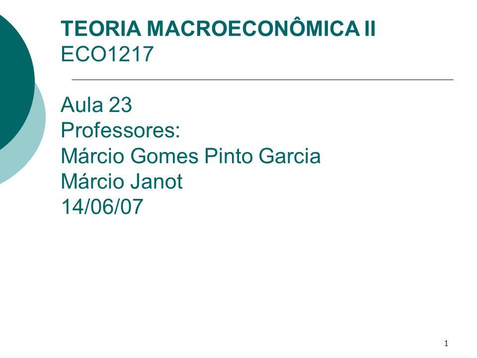 1 TEORIA MACROECONÔMICA II ECO1217 Aula 23 Professores: Márcio Gomes Pinto Garcia Márcio Janot 14/06/07
