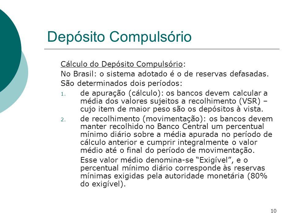 10 Depósito Compulsório Cálculo do Depósito Compulsório: No Brasil: o sistema adotado é o de reservas defasadas. São determinados dois períodos: 1. de