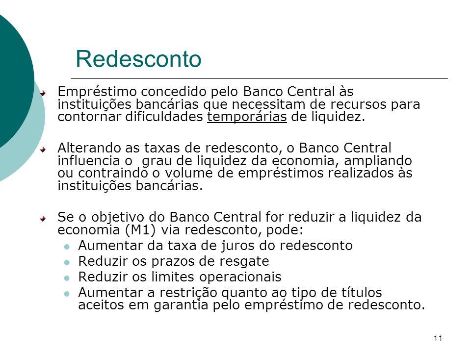 11 Redesconto Empréstimo concedido pelo Banco Central às instituições bancárias que necessitam de recursos para contornar dificuldades temporárias de