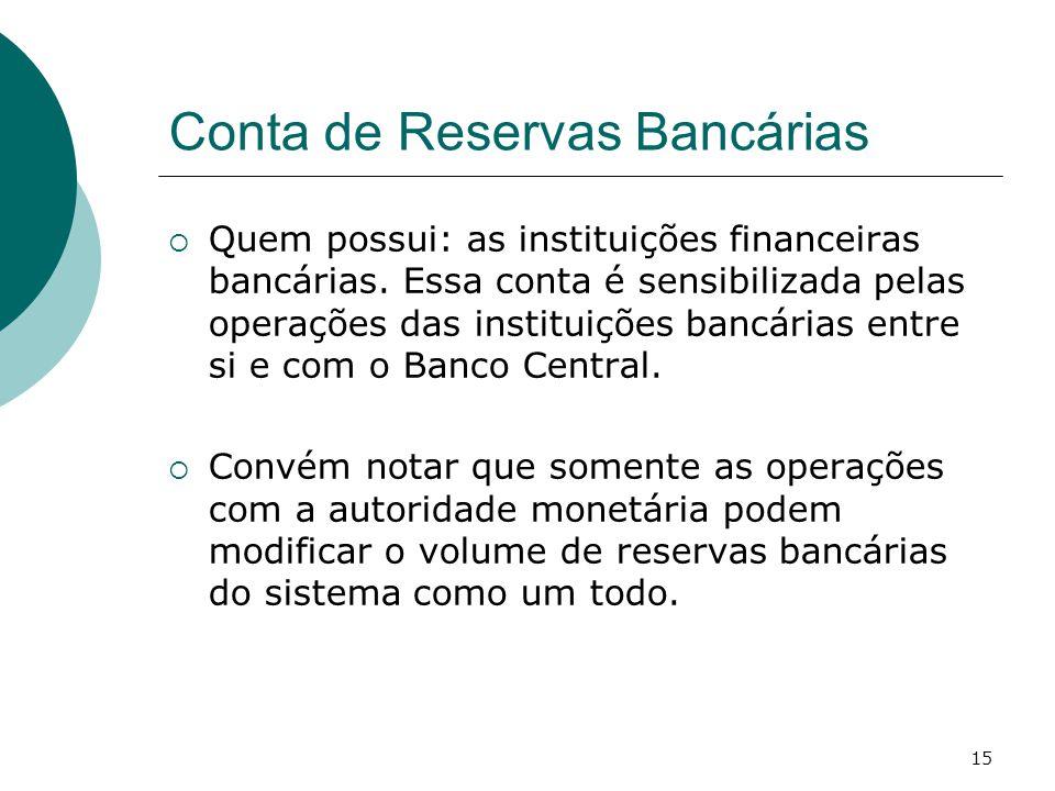 15 Conta de Reservas Bancárias  Quem possui: as instituições financeiras bancárias. Essa conta é sensibilizada pelas operações das instituições bancá