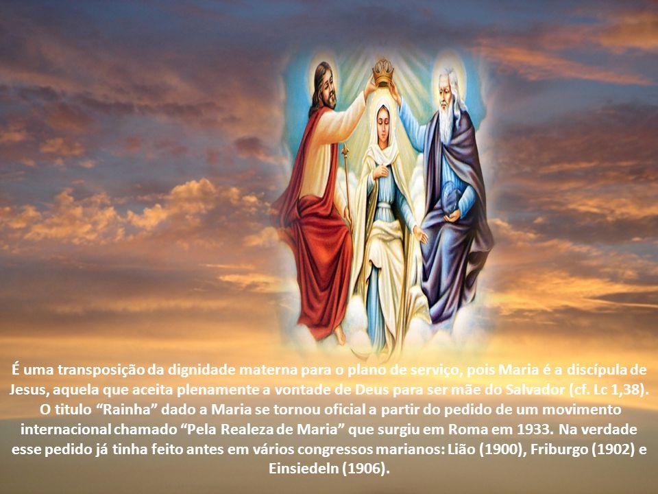 É uma transposição da dignidade materna para o plano de serviço, pois Maria é a discípula de Jesus, aquela que aceita plenamente a vontade de Deus para ser mãe do Salvador (cf.