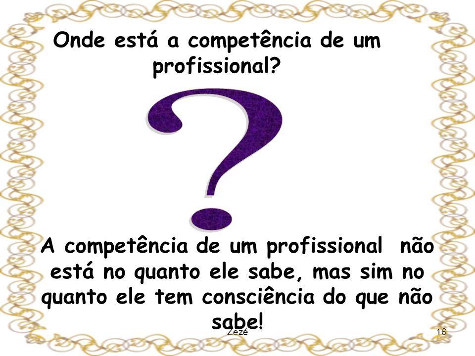 Zezé16 A competência de um profissional não está no quanto ele sabe, mas sim no quanto ele tem consciência do que não sabe.