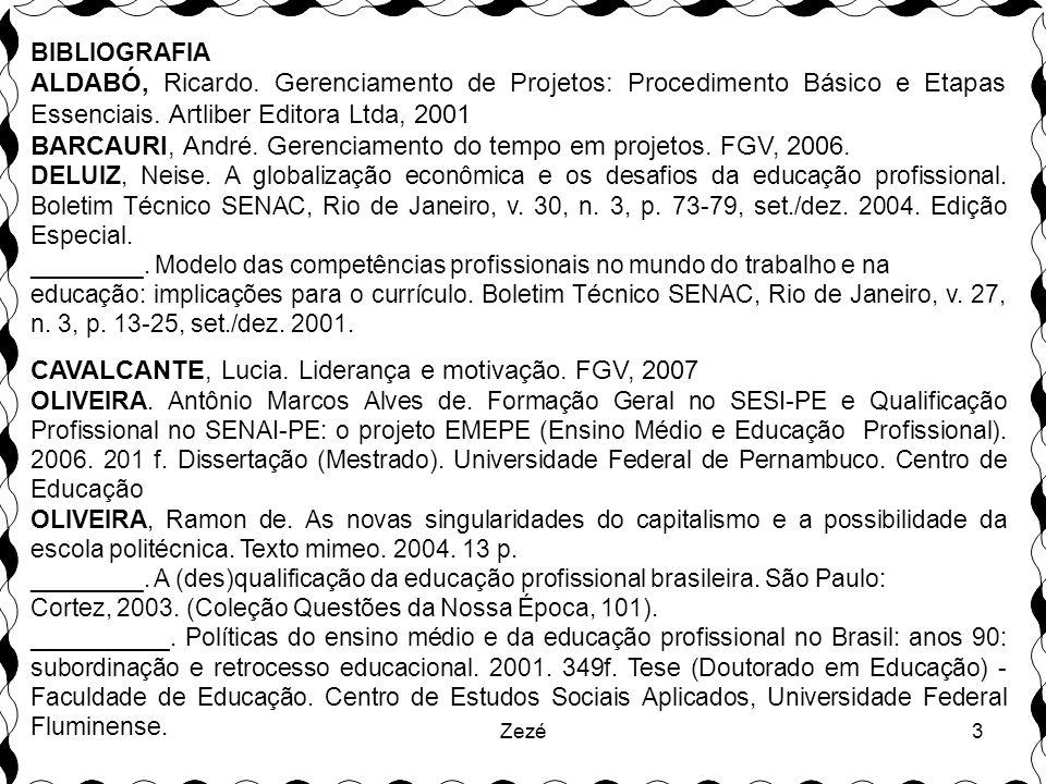3 BIBLIOGRAFIA ALDABÓ, Ricardo.Gerenciamento de Projetos: Procedimento Básico e Etapas Essenciais.