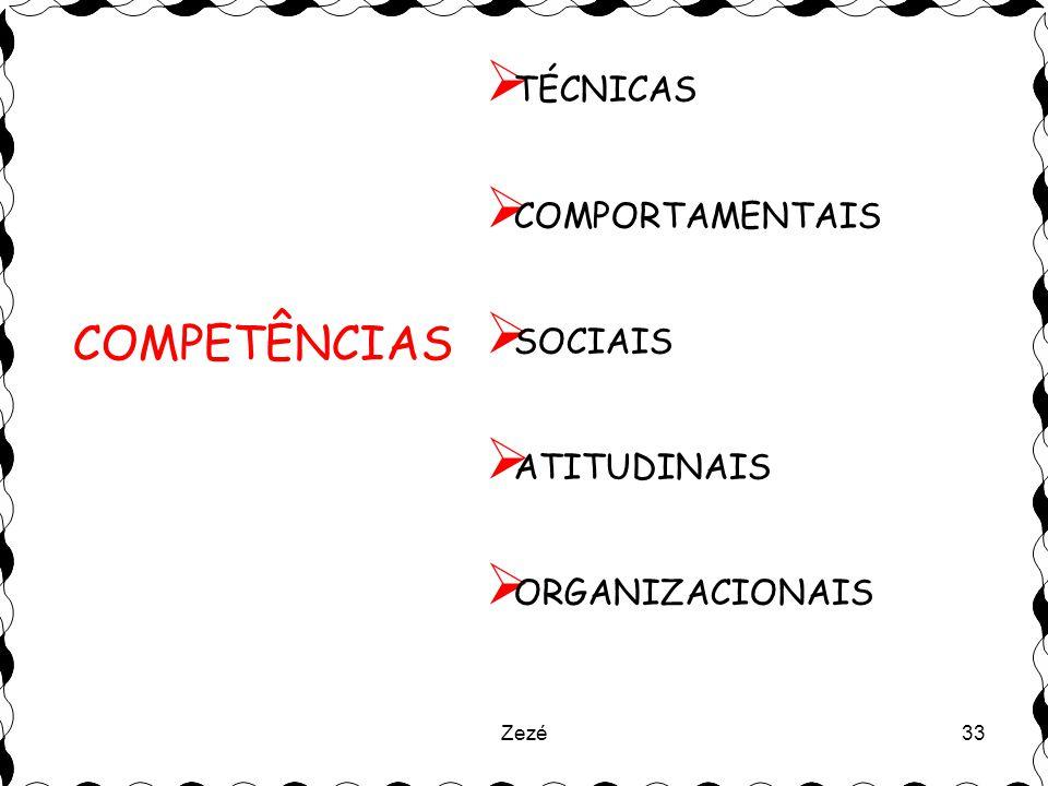 Zezé33  TÉCNICAS  COMPORTAMENTAIS  SOCIAIS  ATITUDINAIS  ORGANIZACIONAIS COMPETÊNCIAS