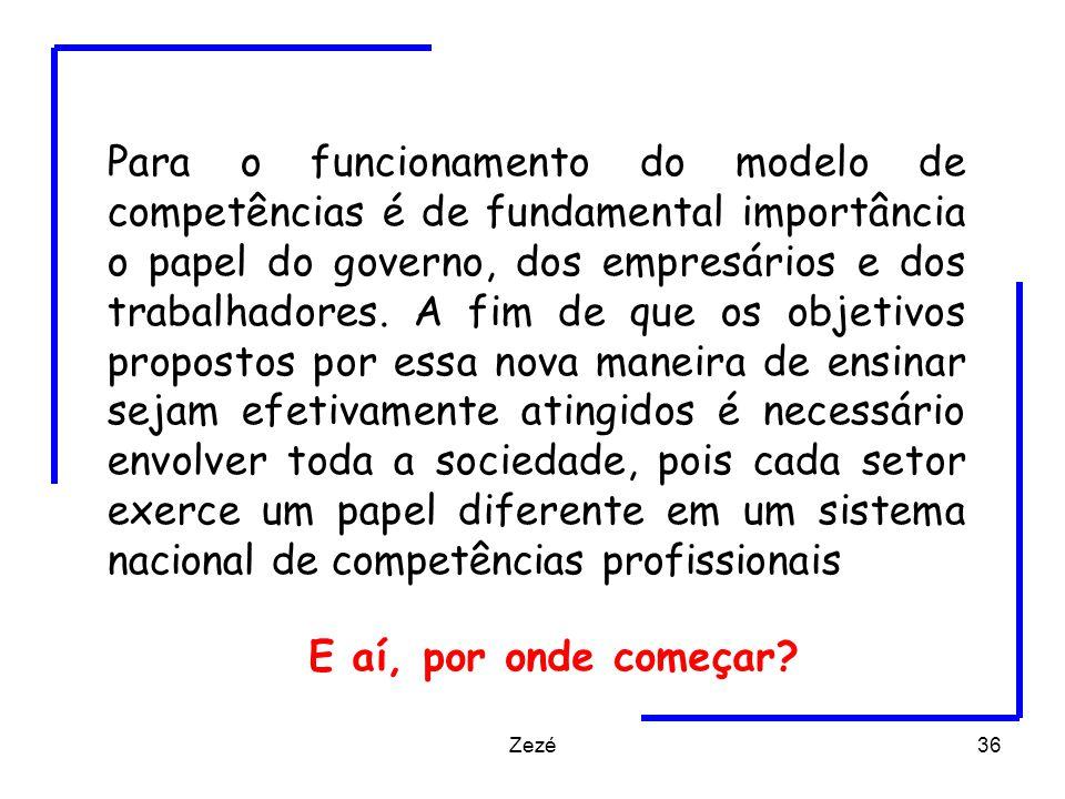 Zezé36 Para o funcionamento do modelo de competências é de fundamental importância o papel do governo, dos empresários e dos trabalhadores.